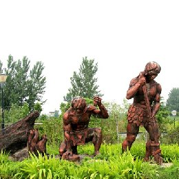 雕塑钻木取火